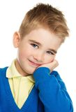 Cheerful little boy in blue cardigan Stock Photos