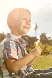 Cheerful little boy eating ice cream Stock Photography