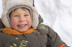 Cheerful little boy enjoy winter Royalty Free Stock Photo