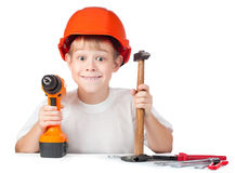 Cheerful little boy with hammer and screwdriver Royalty Free Stock Photos