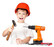 Cheerful little boy with hammer and screwdriver Stock Photography