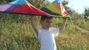Cheerful little boy is holding up a colorful kite above his head. game imagination flight of dreams. Children`s health stock video footage