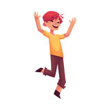 Cheerful little boy jumping from happiness. Cartoon vector illustrations isolated on white background. Happy brown haired boy in shorts and t-shirt jumping in Royalty Free Stock Photos