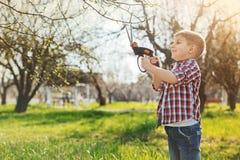 Cheerful little boy prunning the tree Stock Photo