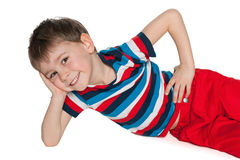 Cheerful little boy resting Royalty Free Stock Images