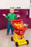 Cheerful little boy with shopping cart. Little kid in casual wear carrying child plastic shopping trolley. Shopping, discount, royalty free stock photography