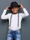 Cheerful little boy smiling with hat Royalty Free Stock Photo