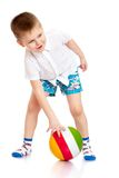 Cheerful little boy in a white shirt and blue Royalty Free Stock Images