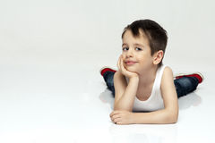 Cheerful little boys are lying Stock Photo