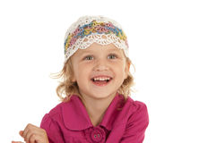 Cheerful little girl. On  white background Royalty Free Stock Photography