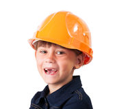 Cheerful little girl. In a protective helmet Stock Images