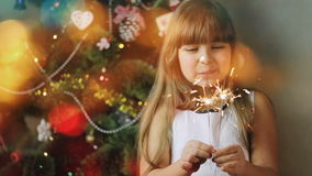 Cheerful Little Girl With Bengal Lights stock footage