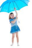 Cheerful little girl with blue umbrella Royalty Free Stock Images