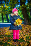 Cheerful little girl with bouquet of maple leaves in autumn park Royalty Free Stock Photography