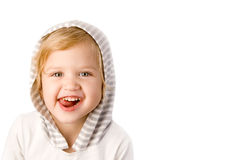 Cheerful little girl close-up. On white background Royalty Free Stock Images