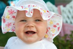Cheerful little girl and happy Royalty Free Stock Photo