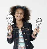Cheerful Little Girl Happy Smiling Studio Concept stock images