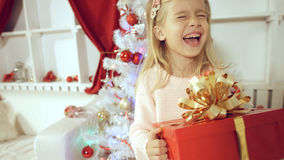 Cheerful little girl having fun with a gift near the Christmas tree Stock Images