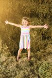 Cheerful little girl in haystack. stock image