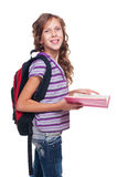 Cheerful little girl holding book Royalty Free Stock Photos