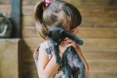Cheerful little girl holding a cat in her arms Stock Photography