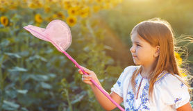 Cheerful little girl playing in a field with insect net. In summer evening stock images