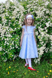 Cheerful little girl is standing in the bushes of a bird cherry. stock photos