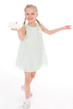 Cheerful little girl with white blank Royalty Free Stock Photography