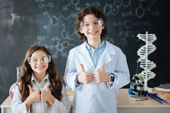 Cheerful little researchers enjoying science class at school Royalty Free Stock Photography