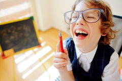 Cheerful little student bespectacled sits at school desk. Stock Images