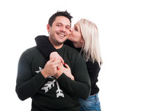 Cheerful lovers having fun and embracing Stock Photos