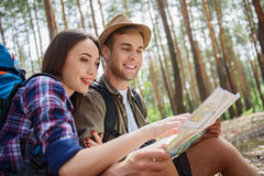 Cheerful loving couple ready to travel Stock Image