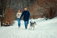 Cheerful loving couple with siberian husky is running along the snowy forest during their walk. stock photography