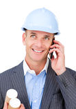 Cheerful male architect talking on phone Royalty Free Stock Image