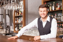 Cheerful male bartender is working in pub Stock Photos