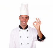 Cheerful male chef with ok gesture Stock Photography