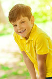 Cheerful male child is enjoying the nature Royalty Free Stock Images