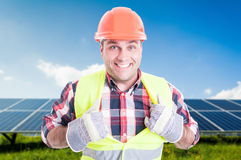 Cheerful male engineer acting like super hero Stock Photos
