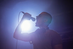 Cheerful male singer performing at nightclub. During music festival Royalty Free Stock Images