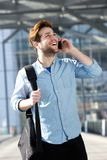 Cheerful male traveler royalty free stock photography