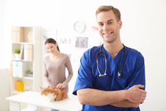 Cheerful male vet is working in clinic Stock Photography