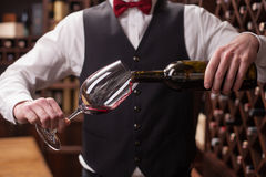 Cheerful male waiter is serving alcohol drink Stock Photo