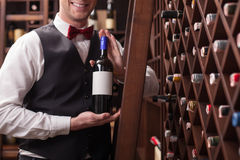 Cheerful male waiter is working in winehouse Stock Photos