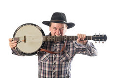 Cheerful man with a banjo Royalty Free Stock Image
