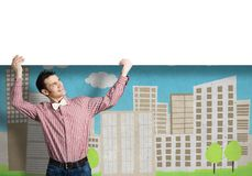 Cheerful man with banner Stock Photos