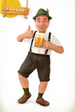 Cheerful man with beer, cartoon character. 3d vector icon Stock Photos