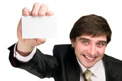 Cheerful man with business card Royalty Free Stock Photo
