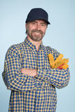 Cheerful man in cap Stock Images