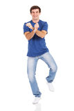 Cheerful man dancing Stock Photography