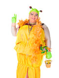 Cheerful man, Drag Queen, in a Female Suit Stock Photo